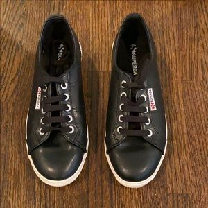 Superga Black Faux Leather Sneakers
